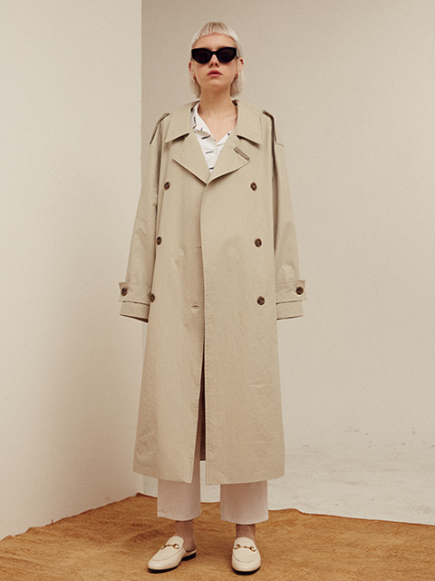 BACK OPEN LONG TRENCH COAT (GRAY)