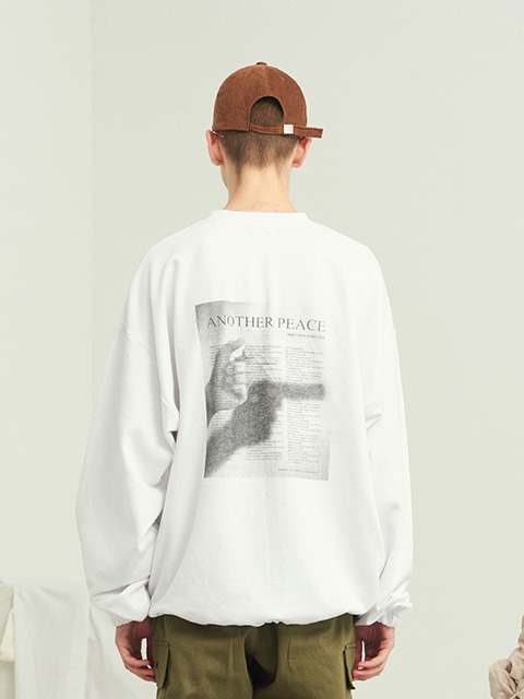 PEACE WAIST STRING SWEAT SHIRT (WHITE)