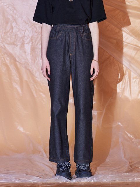 DENIM WIDE BANDING PANTS (DARK BLUE)
