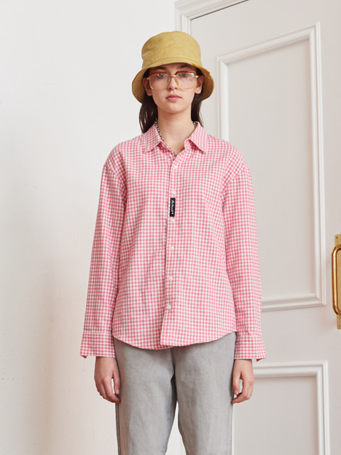 GINGHAM CHECK LONG SLEEVE SHIRT (PINK)