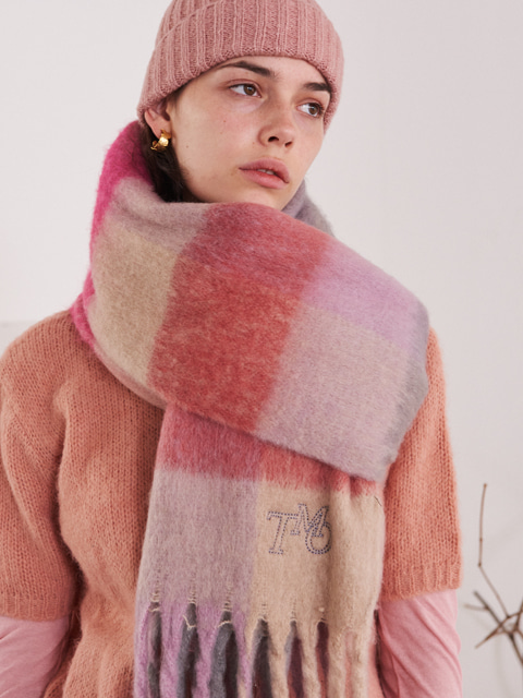 MULTI TONE RECTANGLE SCARF (PINK)